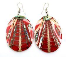 Iridescent Paua Abalone & Cone Shell earrings: Ba252-A
