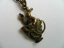 Lovely Alice in Wonderland Rabbit and Teacup Bronze Curb Chain Necklace