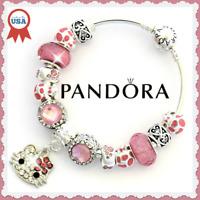 Authentic Pandora Charm Bracelet Silver HELLO KITTY Pink with European Charms