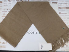 """LACOSTE Cashmere & Wool Scarf 10""""x72"""" Luxury Light Brown Fringe Scarves BNWT"""