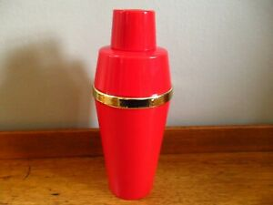 Vintage Red and Gold Plastic Cocktail Shaker Unused