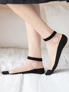 One Women Lace Short Ankle Socks Flower Transparent Thin Silk Daisy Socks