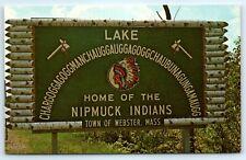 Postcard MA Webster Lake Chargoggagoggmanchauggagoggchaubunagungamaugg Sign K1
