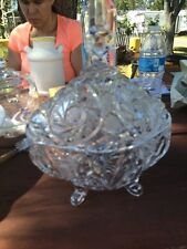 Elegant Etched Crystal Large Candy Dish With Lid