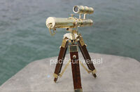 Nautical Telescope best nautical Solid Brass Double Barrel with Wooden Tripod
