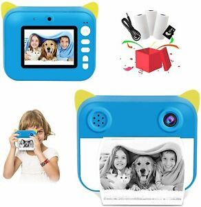 Kids Instant Digital Polaroid Camera ZINK Zero Ink Printing+32G SD& 3 Roll Paper
