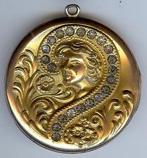 LARGE ANTIQUE GOLD FILL DIMENSIONAL NOUVEAU LADY FACE RHINESTONE LOCKET PENDANT