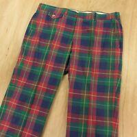 vtg 60s 70s plaid madras pants 38 x 30 flat front talon zipper ivy trad golf usa