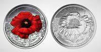 Canada Remembrance Day 2015 Poppy Colourized & Plain Quarter Set!!