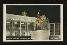 Germany BERLIN Deutsche Industrie-Ausstellung GB pavillion at night 1953 RP PPC