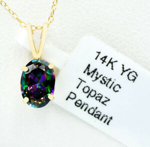 AAA MYSTIC TOPAZ  1.28 Cts SMALL PENDANT 14K YELLOW GOLD ** New With Tag **