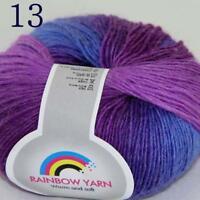 Sale Soft Cashmere Wool Colorful Rainbow Wrap Shawl DIY Hand Knit Yarn 50gr 13