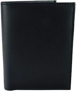 Portafoglio Uomo Verticale in Vera Pelle Nero Portamonete Porta Carte di Credito