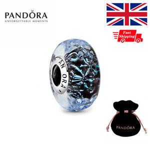 Genuine PANDORA Wavy Dark Blue Murano Glass Ocean Charm 798938C00 With Gift Bag