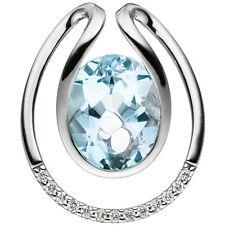 NEU 585er Luxus Diamanten Anhänger Blautopas hellblau echt Gold Weißgold 14 KT