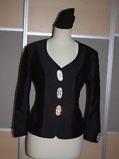 Tristano Onofri Couture, de lujo Seiden chaqueta, talla 40, negro, noble