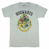 Harry Potter Hogwarts Crest Grey Heather Men's T-Shirt New