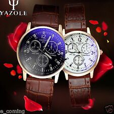 YAZOLE 2PCS Womens Mens Lover Blue Ray Glass WristWatches Quartz Analog Relogio