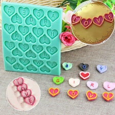 Heart Alphabet Letter Silicone Fondant Mould Cake Decor Chocolate Mold x1