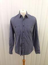 Mens Topman Shirt - Medium - Roll Sleeve - Navy & White Stripe - Great Condition