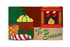 3x5 Merry Christmas Tis The Season Fireplace Gifts Holiday Flag 3'x5' Banner