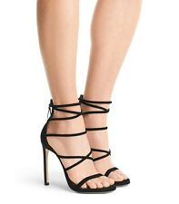 $598 Size 5 Stuart Weitzman Myex Black Suede Ankle Strap Heel Dress Sandals NEW