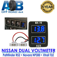 Dual Battery Volt Meter for Nissan Navara NP300 2015 - Current with BLUE light