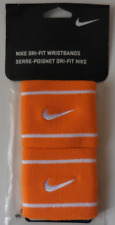 NIKE Dri-Fit Tennis WristBands Color Copper Flash/White Set of 2 NEW