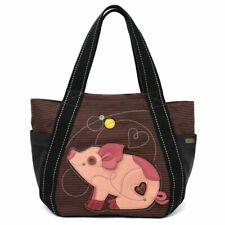 New Chala Handbag Carryall Zip Tote PIG Pink Brown Stripes Large Bag Canvas gift