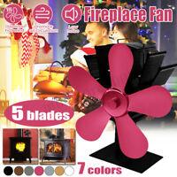 5 Blade Heat Self-Powered Wood Stove Fan Top Burner Fireplace Silent Ecofan