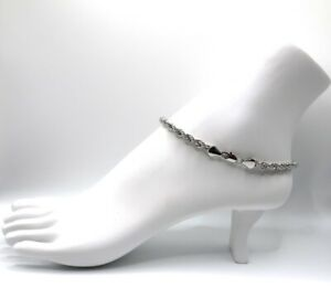 """Twist Rope Chain 5mm Anklet Ankle Bracelet 10"""" inch 14k White Gold Plated"""
