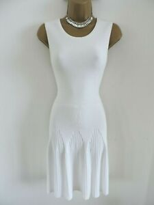 Karen Millen Size S UK 10 12 FIT& FLARE RIBBED STRETCH KNIT DRESS IN WHITE