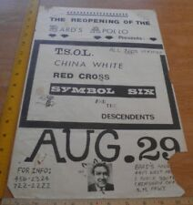 """TSOL China White Red Cross Descendents 1980s Punk rock concert poster 11x17"""""""