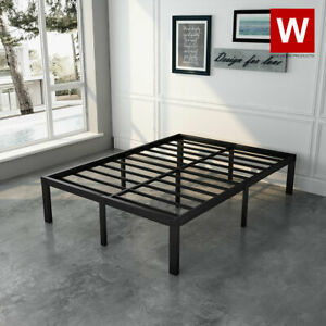 Full Size Steel Bed Frame - Heavy Duty Metal Platform Beds - Height 14""