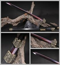 Unique Chinese Longquan Sword Red Pattern Steel Alloy Fitting Black Wood Sheath