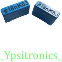 Lot x5 Folien Kondensator Polyester Capacitor 0,39uF 390nF 63V R5mm Plessey NEU
