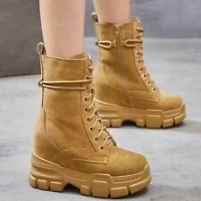 Fashion Sneakers Women Leather Platform Wedge High Heel Militalry Ankle Boots