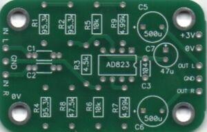 KMTech AD823 based 3V Single Supply Headphone Amplifier 55mm x 35mm PCB DIY