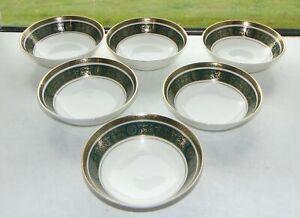 Royal Doulton Vanborough Pattern H4992 Green  6 x Dessert Bowls 13.5cm