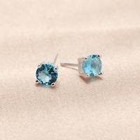 Solid 925 Sterling Silver 5mm Round Aquamarine Blue Crystal Cut CZ Stud Earrings