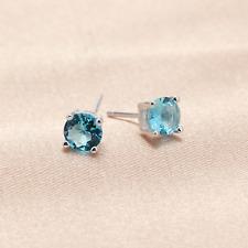 925 Sterling Silver 5mm Round Aquamarine Blue Crystal CZ Stud Earrings Shiny