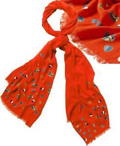 NEW! WHITE STUFF Love Heart Barn Owl Print Viscose Scarf Shawl Foxy Orange £27.5