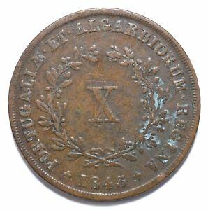1843, Portugal, 10 Reis, Maria II, Copper, VF, KM# 481, Lot [534]