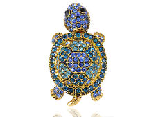 Antique Gold Blue Green Wiggle Baby Turtle Tortoise Diamante Rhinestone Ring New