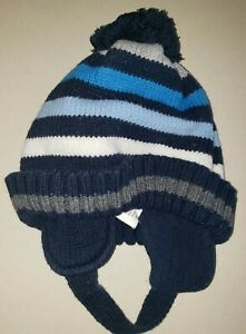 the CHILDRENS PLACE baby boys KNIT WINTER HAT 6/12 month BLUE STRIPES EAR COVERS