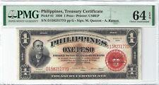 P-81 1936 1 Peso, Philippines, Treasury Certificate, PMG 64EPQ Nice!