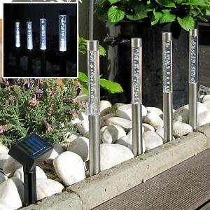 4er LED Solar Gartensticks,Garten,Edelstahl & Acryl, Wegbeleuchtung Wegeleuchte