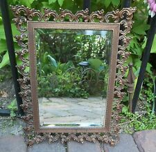 Antique Copper Mirror Ornate Heavy Frame With Beveled Glass Tabletop