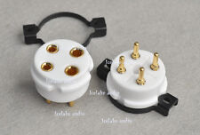 1 pc 4 pin steel Ceramic Machine made gold plated tube socket 300B 2A3 101...