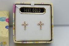 Children's 14K Cross Stud Earrings Polished Yellow Gold Cubic Zirconia